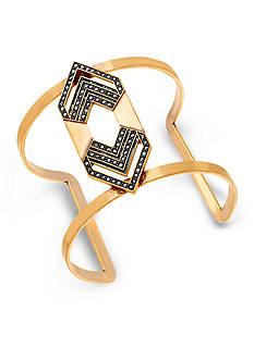 Steve Madden Rhinestone Aztec Cutout Metal Cuff Bracelet