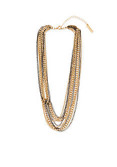 Steve Madden Two-Tone Multi-Row Knotted Necklace