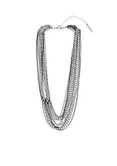 Steve Madden Two Tone Multi Row Knotted Necklace