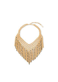 Steve Madden Cascading Chain And Bead Bib Necklace
