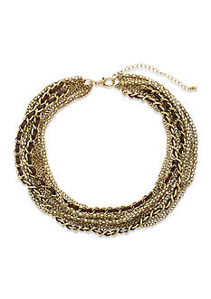 Steve Madden Leather And Chain Multi Row Necklace