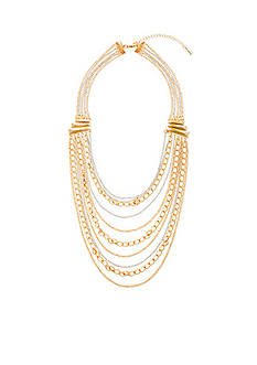 Tribal Gone Wild Steve Madden 2 Tone Multi Row Chain-Link Necklace