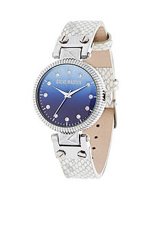 Steve Madden Women's Silver-Tone Pyramid Hinge Ombre Gradient White Leather Watch