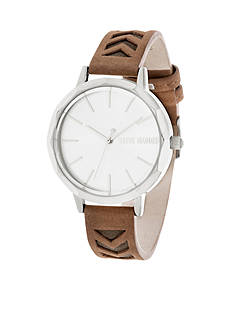 Steve Madden Women's Silver-Tone Brown Tonal Cutout Leather Watch