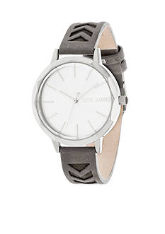 Steve Madden Women's Silver-Tone Cutout Gray Leather Watch