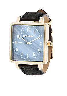 Steve Madden Women's Gold-Tone Day to Day Black Leather Watch