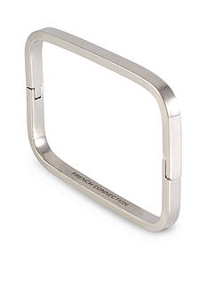 French Connection Silver-Tone Rectangle Hinged Bangle