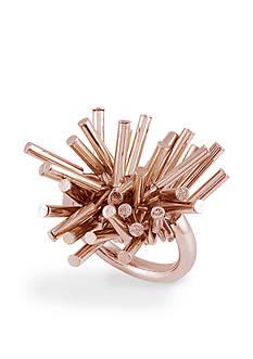 French Connection Rose Gold-Tone Tube Fringe Ring