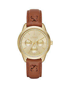 Chaps Women's Kasia Chronograph Light Brown Leather Strap Watch
