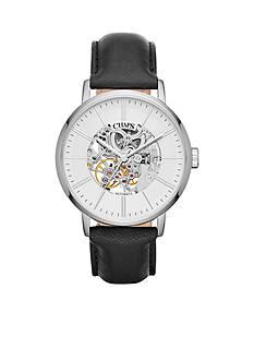 Chaps Men's Dunham Skeleton Black Leather Strap Watch