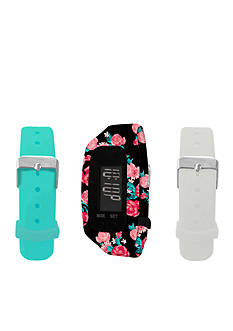 B FIT WATCH Black Floral LCD Tracker Watch