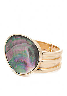 true Gold-Tone Abalone Bangle Bracelet