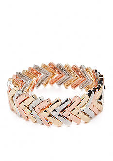 true Tri-Tone Chevron Stretch Bracelet