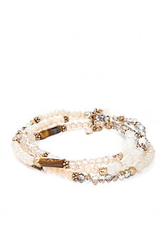 true Gold-Tone Crystal Beaded Stretch Bracelet Set