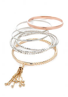 true Tri-Tone 7-Piece Bangle Bracelet Set