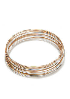 true Two-Tone Mixed Metal Bangle Set