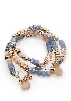 true Gold-Tone Multirow Beaded Stretch Bracelet