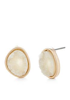 true Gold-Tone White Drusy Button Earrings