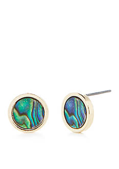 true Gold-Tone Abalone Stud Earrings