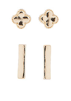 true Gold-Tone Duo Stud Earrings Set