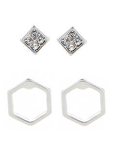 true Silver-Tone Geometric Duo Stud Earring Set