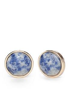 true Gold-Tone Blue Button Earrings