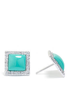 evie & emma Fine Silver Plated Turquoise and Cubic Zirconia Square Stud Earrings