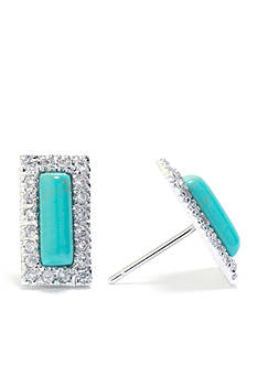 evie & emma Fine Silver Plated Turquoise and Cubic Zirconia Rectangle Stud Earrings