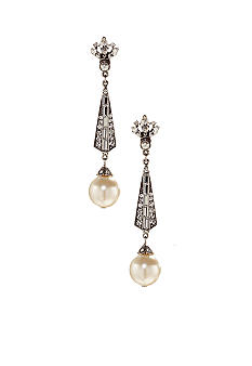 Deco And Pearl Drop Earrings