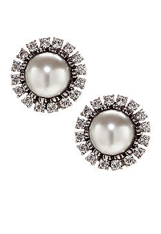 Ben-Amun Pearl And Crystal Clip Earrings