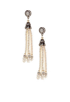 Ben-Amun Pearl Tassel Earrings<br>