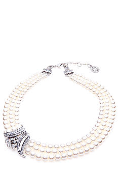 Ben-Amun Three Row Pearl Necklace
