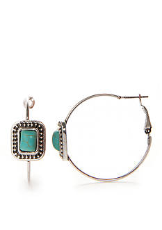 New Directions Silver-Tone Turquoise Hoop Earrings
