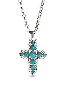 New Directions Silver-Tone Turquoise Cross Pendant Necklace