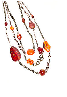 New Directions Long Three Row Lava Necklace