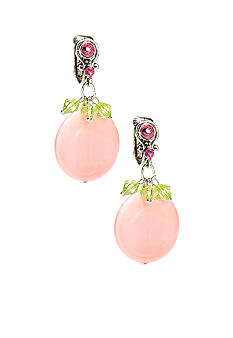New Directions Strawberry Lime Disc Drop Clip Earrings