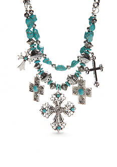 New Directions Silver-Tone Turquoise Cross Statement Necklace