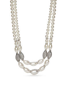 New Directions Silver-Toned Mesh Pearl Multistrand Collar Necklace
