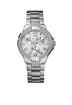GUESS Women's Crystallized Silver Multifunction Watch