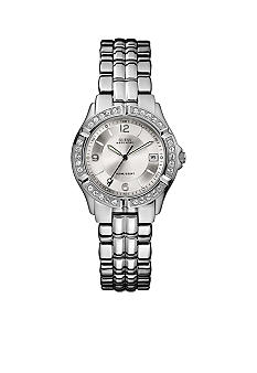 GUESS Womens Crystallized Silver Waterpro Analog Watch