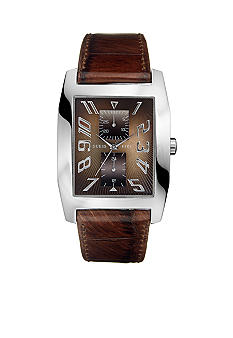 GUESS Men's Brown Leather Multifunction Watch