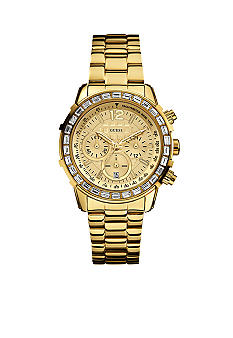 GUESS Women's Chronograph Gold Tone Steel Bracelet Watch