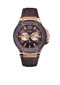 GUESS Men's Rose Gold Tone and Brown Leather Strap Watch