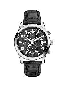 GUESS Men's Chronograph Black Croco-Grain Leather Strap Watch
