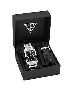 GUESS Men's Stainless Steel and Black Leather Strap Set
