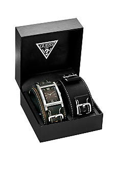 GUESS Men's Buckled Cuff Interchangeable Leather Strap Set