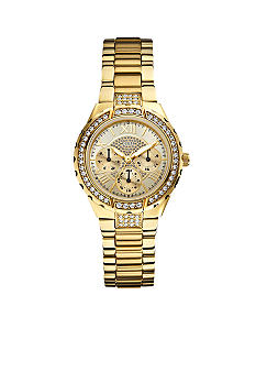 GUESS Women's Mid-Size Gold Tone Steel Bracelet Multi-Function Watch