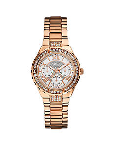 GUESS Women's Mid-Size Rose Gold Tone Multi-Function Watch