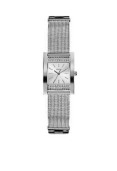 GUESS Women's Silver Tone Steel Mesh Bracelet Watch