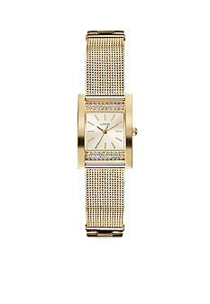 GUESS Women's Gold Tone Steel Mesh Bracelet Watch